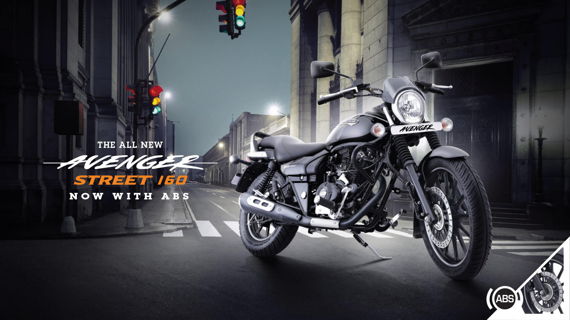 All New Black color bajaj avenger street 160cc with single channel abs