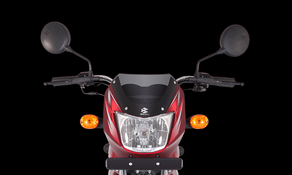Red Color Bajaj CT 100cc Motorcycle front look with headlamp and indicator light