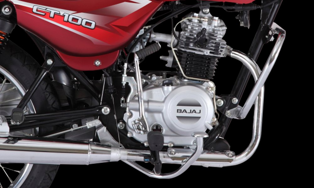 Red color Bajaj CT 100cc Motorcycle Engine features