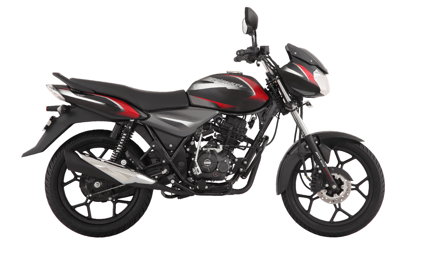 Black and red color bajaj discover 110cc disk motorcycle with dtsi engine side view