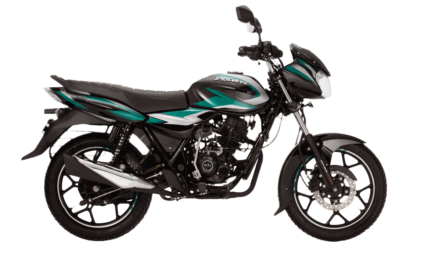 Black and green color bajaj discover 110cc disk new model motorcycle with dtsi engine side view