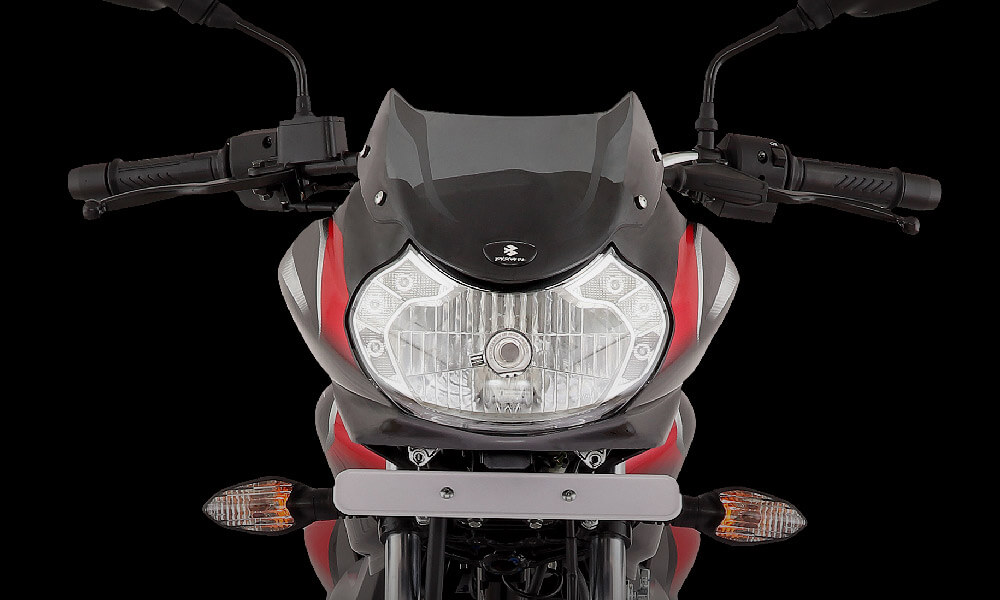 Black and Red Color Bajaj Discover 125cc Disc Motorcycle Front Look With Double Led 12v DC Headlamp