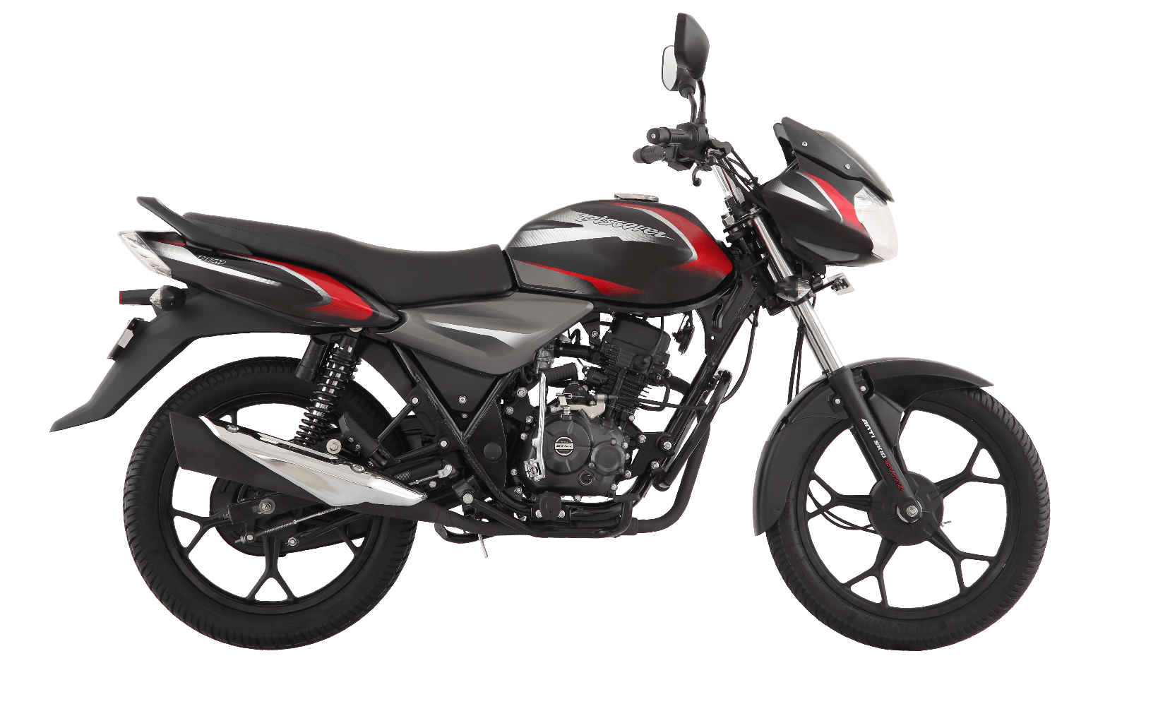Black and Red Color Bajaj Discover 125cc Drum Motorcycle with DTSI Engine side view