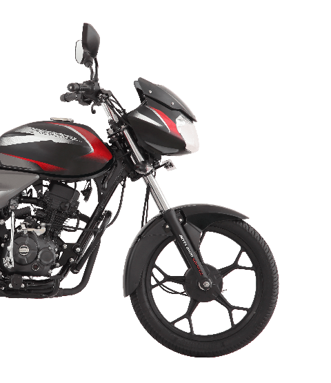 Red Color Bajaj Discover 125cc Drum Motorcycle with DTSI Engine side view