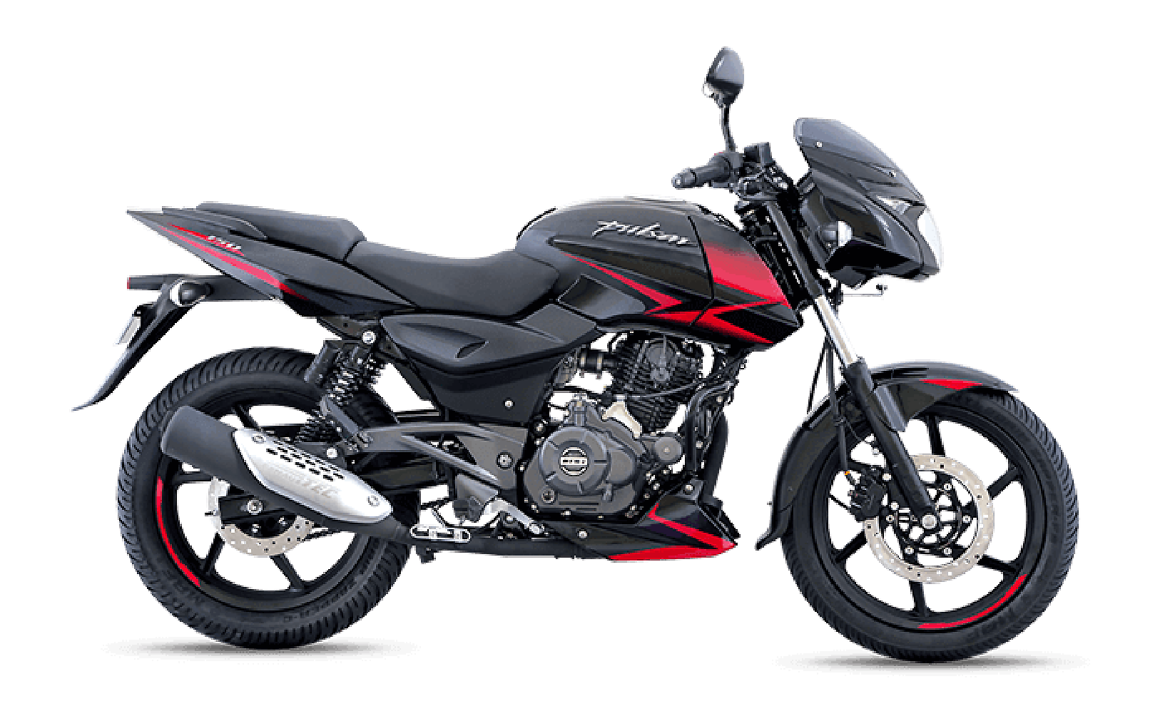 Black and Red Bajaj Pulsar 150cc Twin Disk Motorcycle