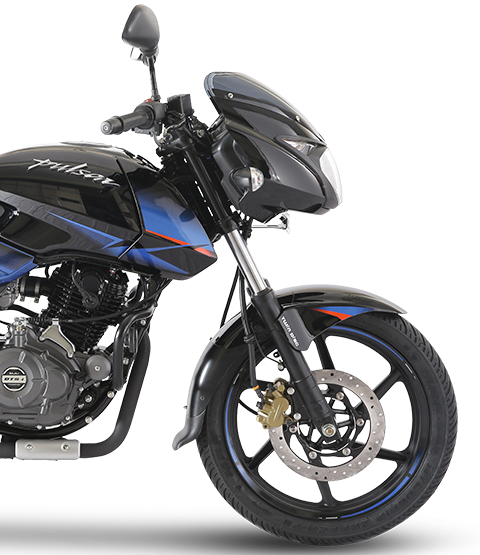 Black and Blue Bajaj Pulsar 150cc Twin Disk Motorcycle Mobile view