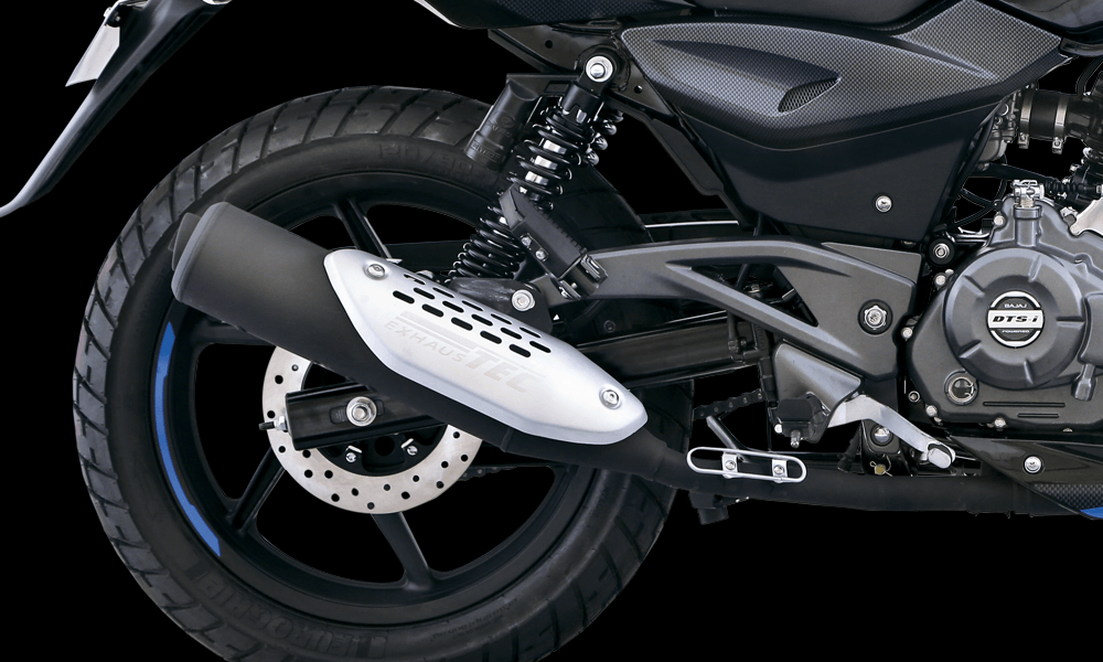 Black And Blue Color Bajaj Pulsar 150cc Motorcycle Exhaust and Body Details