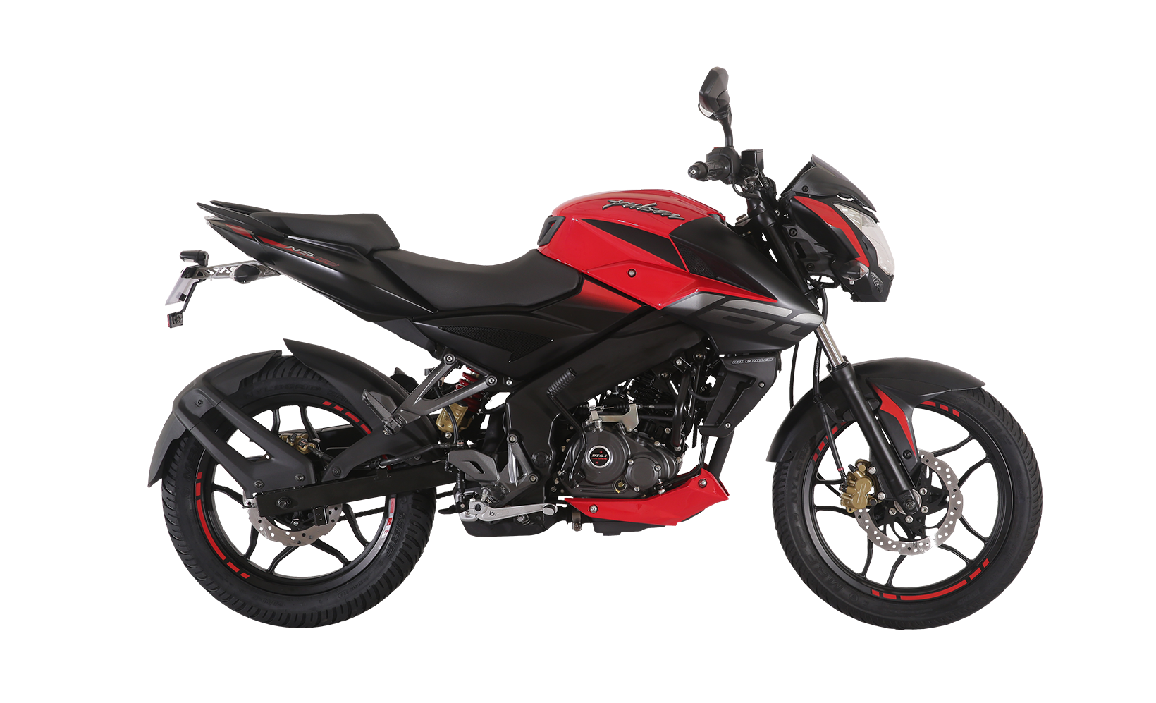 Black and Red Bajaj Pulsar NS 160cc Twin Disk Motorcycle