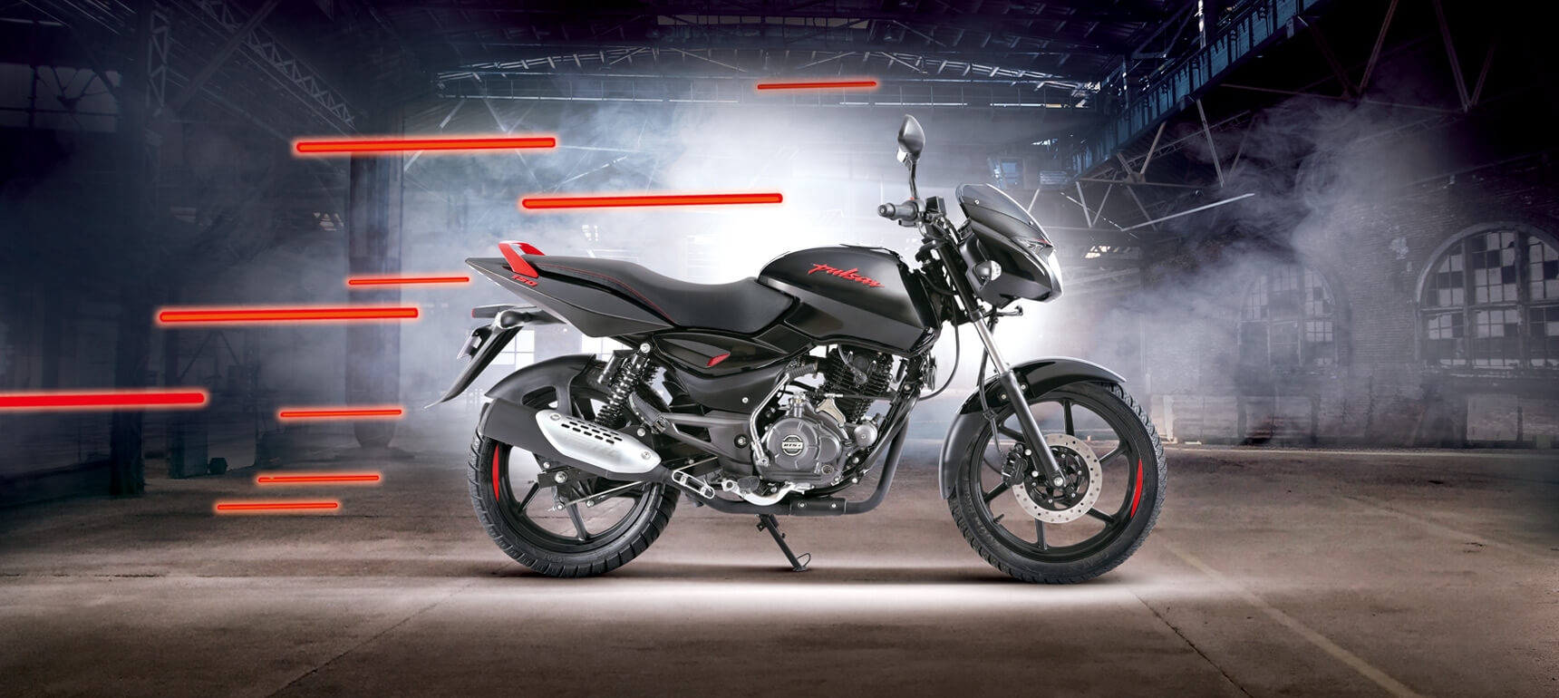 Black and Red Bajaj Pulsar 150cc Neon Motorcycle in a warehouse