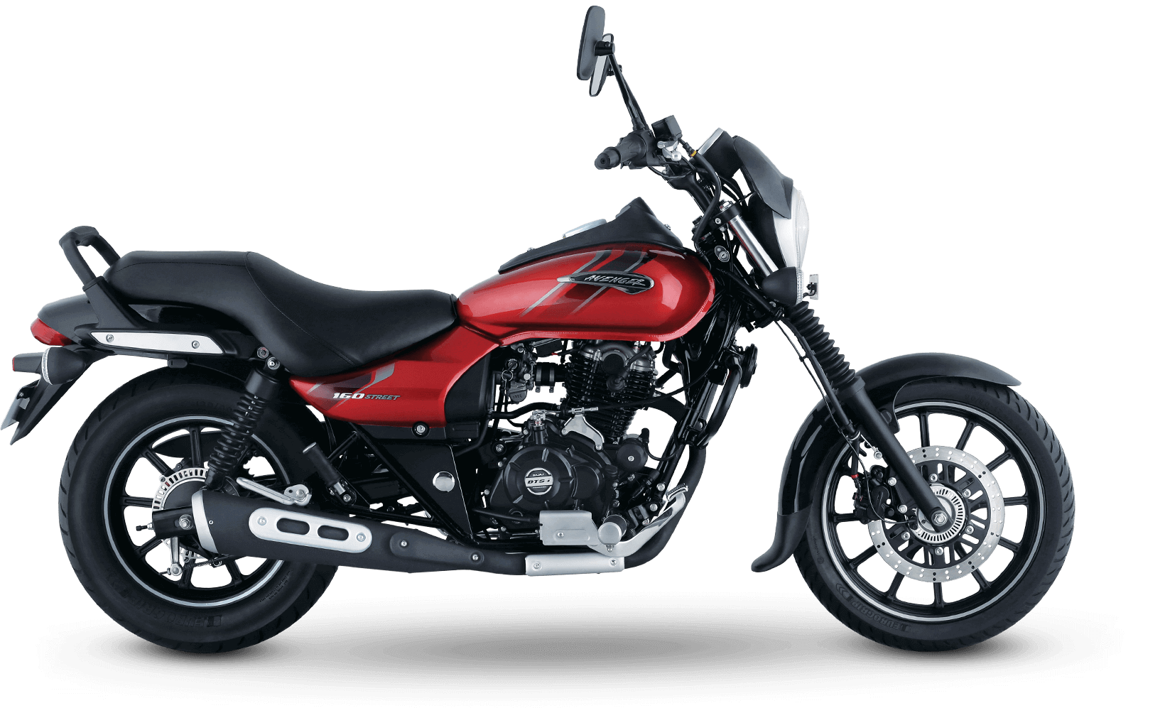 Black and Red color bajaj avenger street 160cc with single channel abs