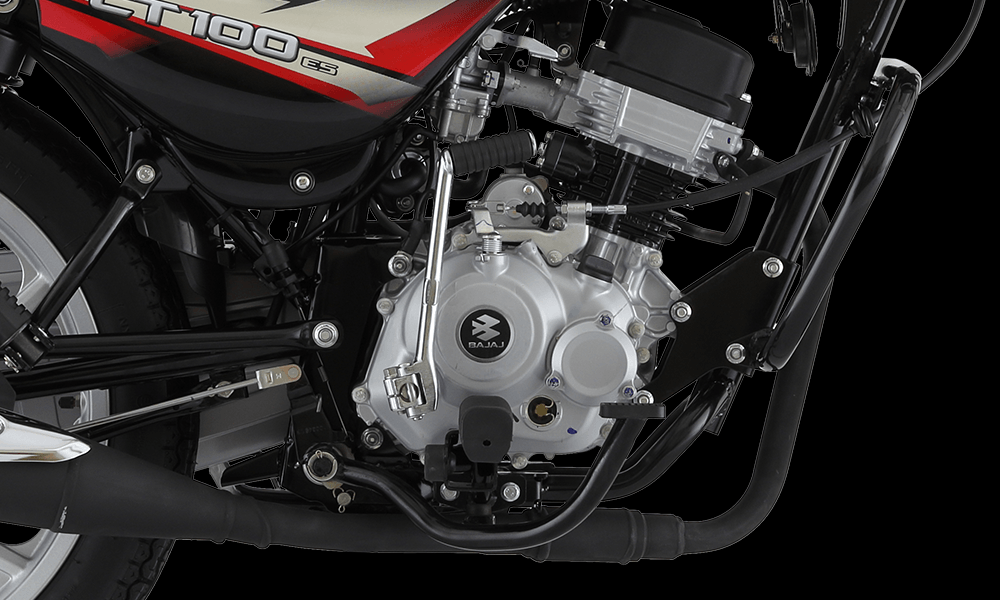 Ebony Black With Red color Bajaj CT 100cc ES Alloy Motorcycle Engine features