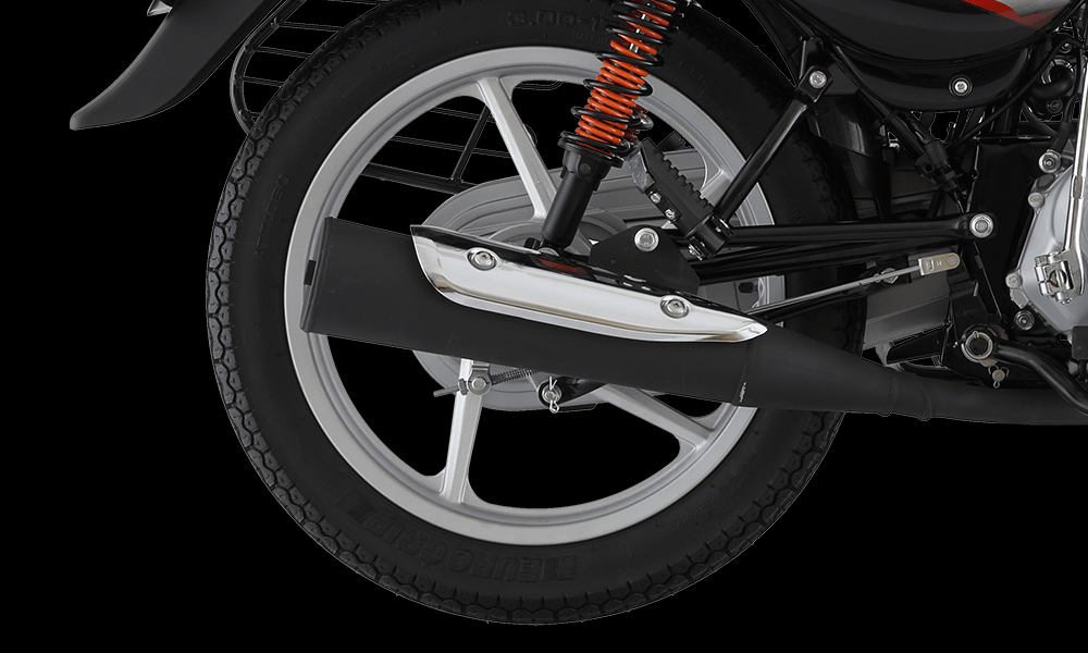 ebony Black with Red Color Bajaj CT 100cc ES Alloy Motorcycle Exhaust and Back wheel