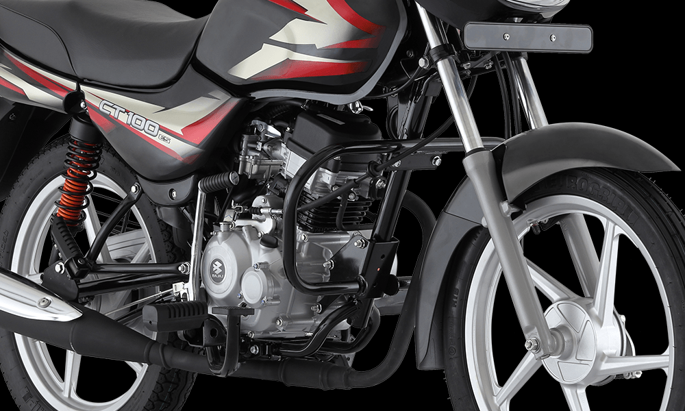 Ebony Black With Red Color Bajaj CT 100cc ES Alloy Motorcycle Engine and Suspension System
