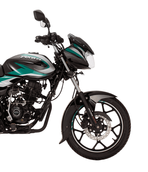 lack and green color bajaj discover 125cc disk new model motorcycle with dtsi engine side view